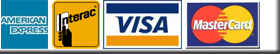 We accept Visa, Mastercard and American Express
